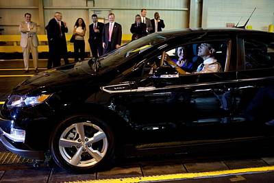 President Obama Drives A New Chevy Volt Art Print by Everett