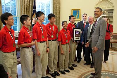 President Obama Greets Mathcounts Art Print by Everett