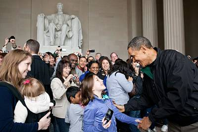 President Obama Greets Tourists Print by Everett