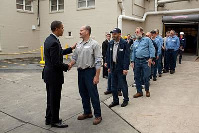President Obama Greets Workers At Shift Art Print by Everett