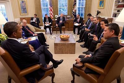 President Obama Holds Meeting Print by Everett