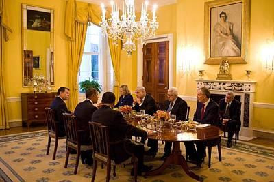 President Obama Hosts A Working Dinner Art Print