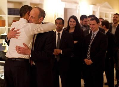 President Obama Hugs Phil Schiliro Art Print by Everett