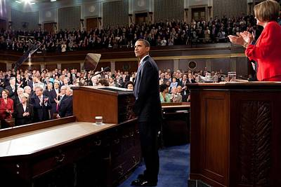 President Obama Is Applauded Art Print