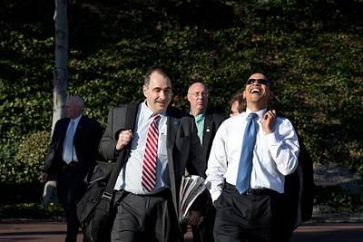 President Obama Laughs While Walking Art Print