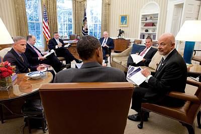 President Obama Meets With Director Art Print