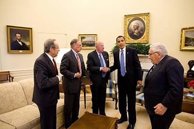 President Obama Meets With Former Art Print