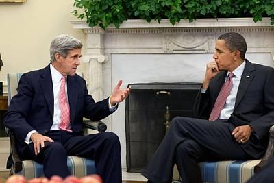 President Obama Meets With Senator John Art Print