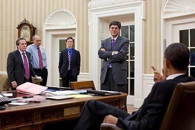 President Obama Talking Art Print by Everett