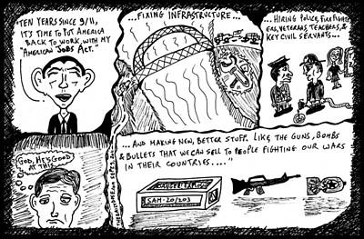 Thedailydose.com Drawing - President Obama The American Jobs Act by Yasha Harari