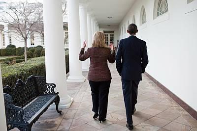 President Obama Walks With Hillary Art Print by Everett