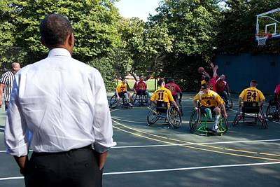 Disabled Sports Photograph - President Obama Watches The National by Everett