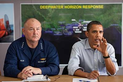 President Obama With Coast Guard Art Print