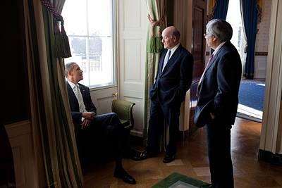 President Obama With Interim Chief Print by Everett