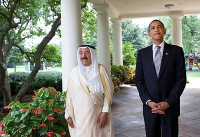 President Obama With Sheikh Sabah Art Print by Everett