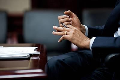 President Obamas Hands Gesture Art Print by Everett