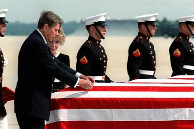 Flag Draped Photograph - President Reagan Attaches A Medal by Everett