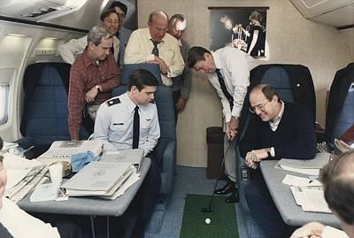 President Reagan Putting A Golf Ball Art Print by Everett