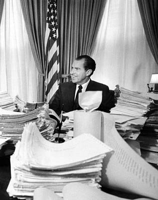 President Richard Nixon Sitting Among Print by Everett