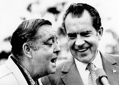 Jackie Gleason Photograph - President Richard Nixon With Comedian by Everett