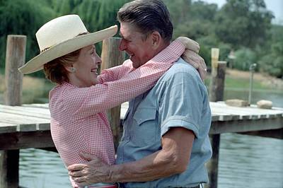 President Ronald And Nancy Reagan In An Art Print by Everett