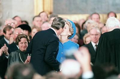 President Ronald Reagan Kisses Mrs Print by Everett