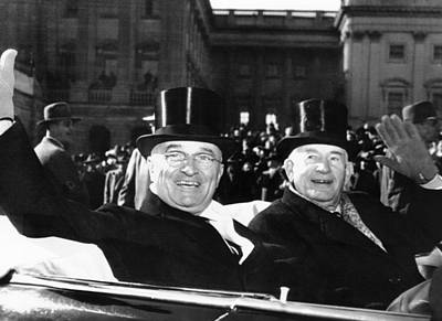Barkley Photograph - President Truman With His Vice by Everett