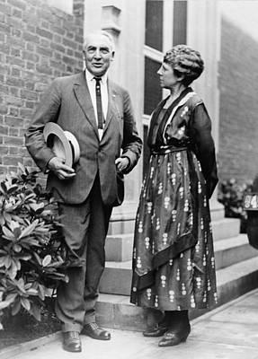 President Warren Harding With First Art Print by Everett