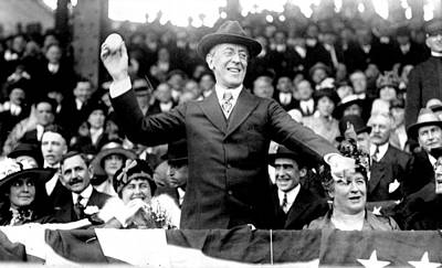 President Woodrow Wilson Throws Throws The First Pitch On Opening Day - C 1916 Art Print by International  Images