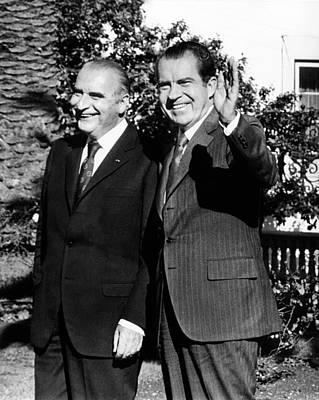 Presidents Richard Nixon And Georges Art Print by Everett