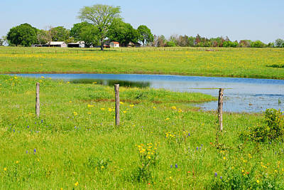 Photograph - Pretty As A Picture - Texas Farm With Blue Lake by Connie Fox