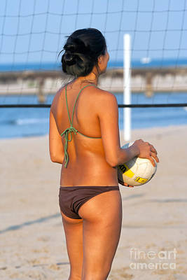 Swimsuit Photograph - Pretty Girl Playing Volleyball At The Beach by Christopher Purcell
