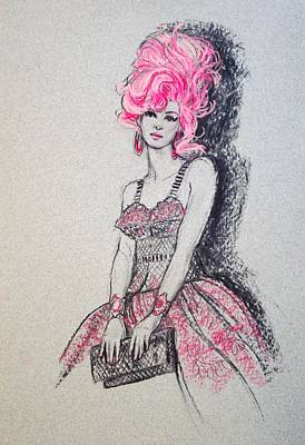 Print featuring the drawing Pretty In Pink Hair by Sue Halstenberg