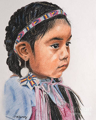 Pastel - Pretty Native American Girl by Kate Sumners