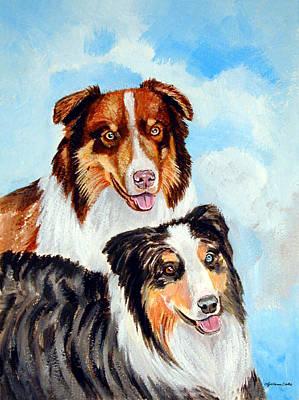 Shepherd Dog Painting - Pretty Pair - Australian Shepherd by Lyn Cook