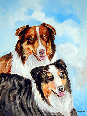 Australian Shepherd Painting - Pretty Pair - Australian Shepherd by Lyn Cook