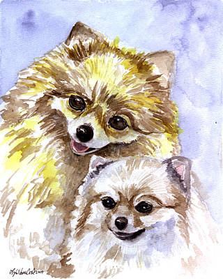Pomeranian Painting - Pretty Pom Pair - Pomeranian by Lyn Cook