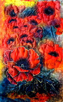 Trapunto Mixed Media - Pretty Poppies by Rayne Van Sing