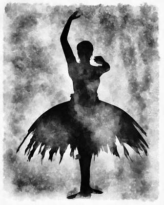 Dancing Girl Mixed Media - Prima 1 Muse Bw by Angelina Vick
