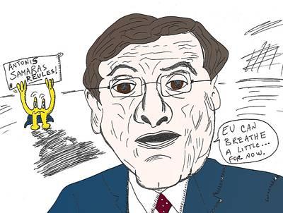 Financial Mixed Media - Prime Minister Of Greece Antonis Samaras Editorial Cartoon by OptionsClick BlogArt