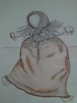 Faceless Doll Drawing - Primitive Doll by Sam Servais