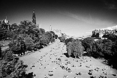 Princes Street Gardens On A Hot Summers Day In Edinburgh Scotland Uk United Kingdom Art Print by Joe Fox