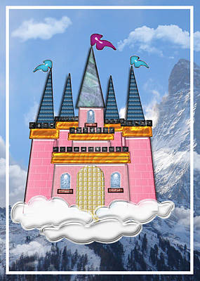 Education Painting - Princess Castle In The Clouds In The Mountains  by Elaine Plesser