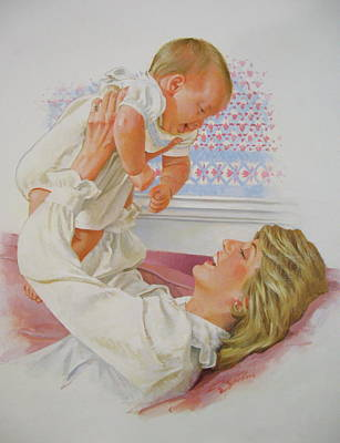 Painting - Princess Diana With Son by Cliff Spohn