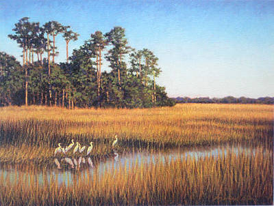 Painting - Print Egret Gathering by Michael Story