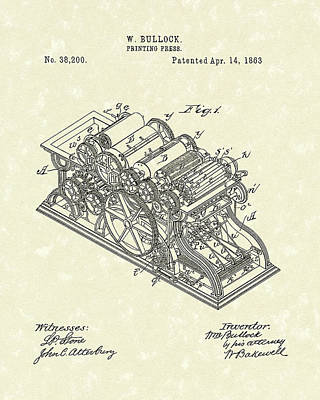 Drawing - Printing Press 1863 Patent Art by Prior Art Design