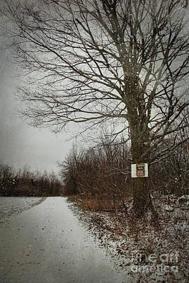 Private Property Sign On Tree In Winter Art Print by Sandra Cunningham