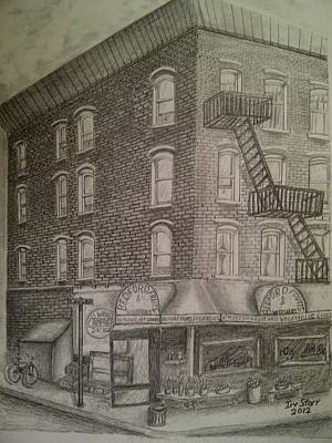Hispanic Drawing - Produce Market In Brooklyn by Irving Starr