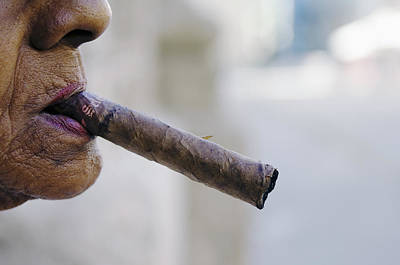 Profile Of Cuban Woman Smoking Cigar In Vieja District Art Print by Christian Aslund