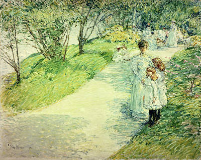 Promenaders In The Garden Art Print by Childe Hassam